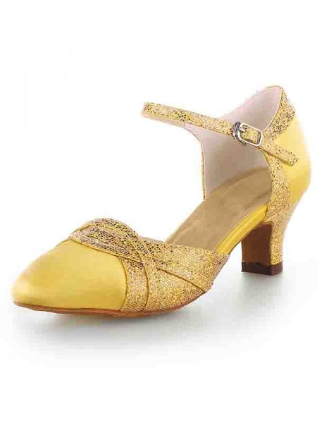 Women's Sateng Closed Toe Chunky Heel With Sparkling Glitter Høyeheler