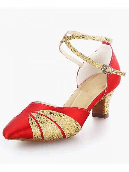 Women's Sateng Closed Toe Chunky Heel Buckle Sparkling Glitter Dansesko