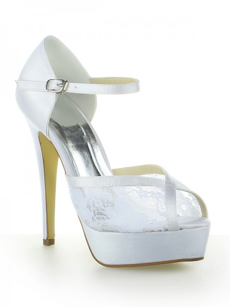 Women's Sateng Blonder Platform Peep Toe With Buckle Stiletto Heel Hvit Brudesko