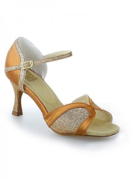 Women's Sateng Stiletto Heel Peep Toe Buckle Sparkling Glitter Dansesko