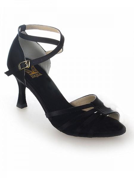 Women's Peep Toe Sateng Stiletto Heel Buckle Dansesko
