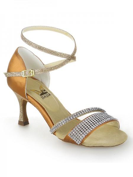 Women's Stiletto Heel Peep Toe Sateng Buckle Dansesko