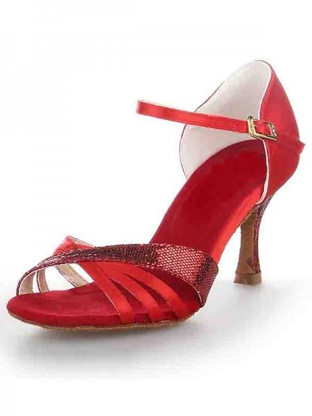 Women's Stiletto Heel Sateng Peep Toe Buckle Dansesko