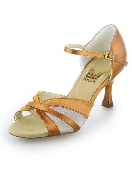 Women's Sateng Peep Toe Buckle Stiletto Heel Dansesko