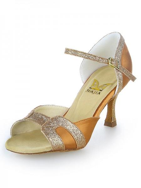 Women's Stiletto Heel Sateng Peep Toe Sparkling Glitter Dansesko