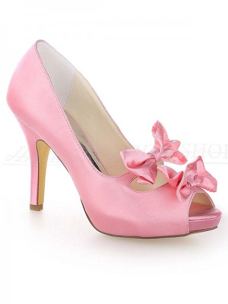 Women's Sateng Peep Toe Stiletto Heel Platform With Sløyfe Watermelon Brudesko