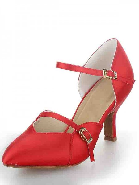 Women's Stiletto Heel Sateng Closed Toe Buckle Dansesko