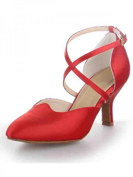 Women's Sateng Stiletto Heel Close Toe Buckle Dansesko