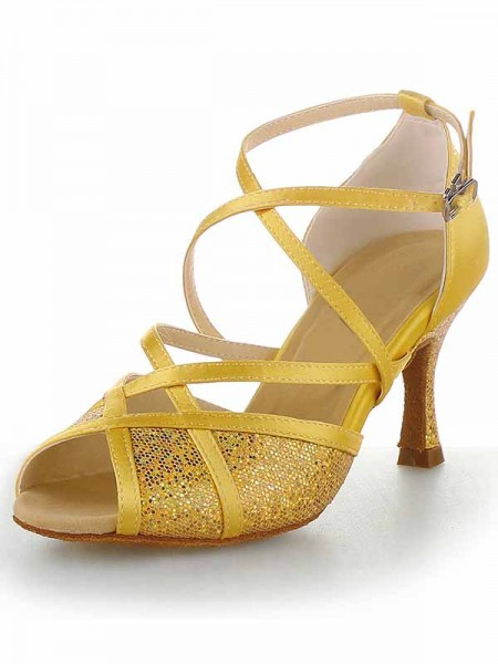 Women's Sateng Peep Toe Stiletto Heel Buckle Dansesko