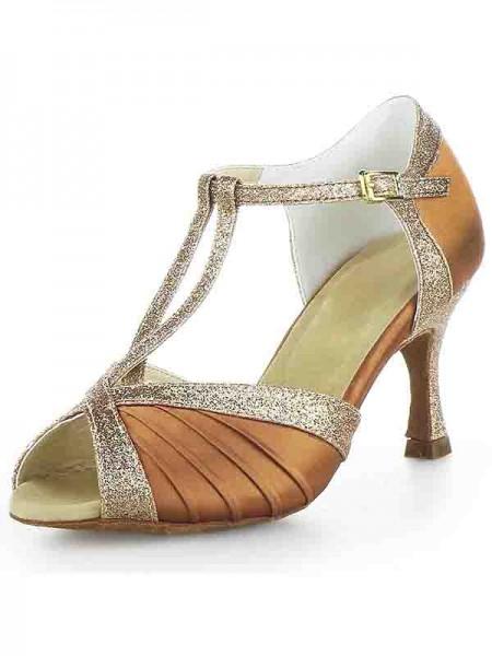 Women's Stiletto Heel Sateng Peep Toe Buckle Sparkling Glitter Dansesko