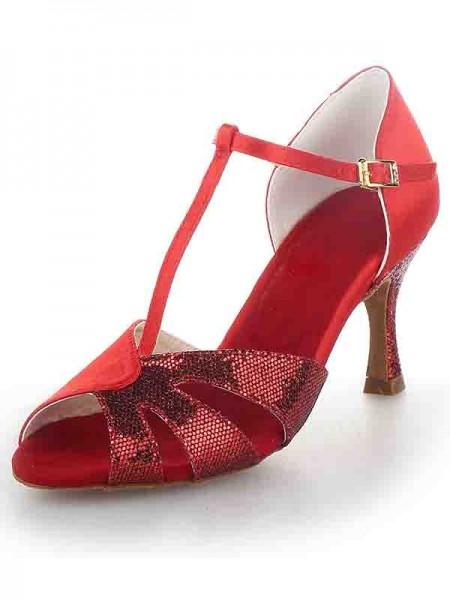 Women's T-Strap Peep Toe Stiletto Heel Sateng Sparkling Glitter Dansesko