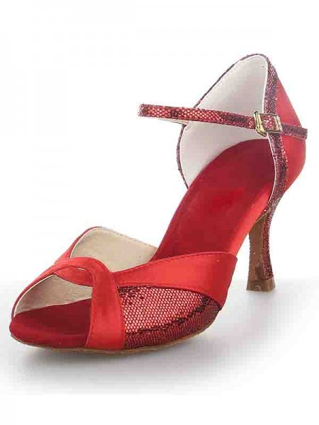 Women's Sateng Peep Toe Stiletto Heel Sparkling Glitter Dansesko