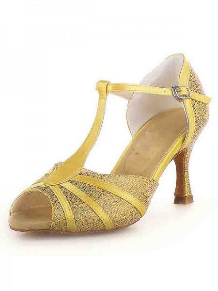 Women's Peep Toe Stiletto Heel Sateng Buckle Sparkling Glitter Dansesko