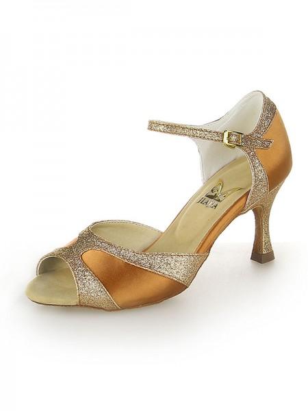 Women's Sateng Peep Toe Sparkling Glitter Stiletto Heel Dansesko