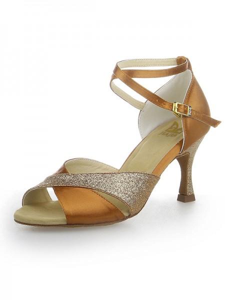 Women's Peep Toe Sparkling Glitter Sateng Stiletto Heel Dansesko