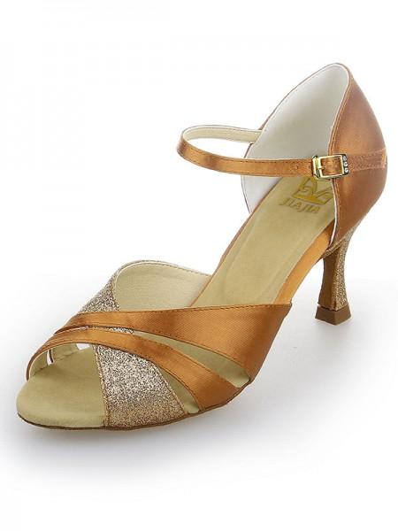 Women's Peep Toe Sateng Stiletto Heel Sparkling Glitter Dansesko