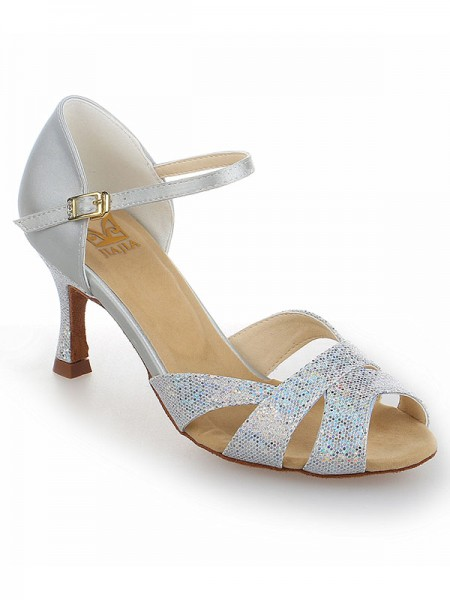 Women's Sateng Stiletto Heel Peep Toe With Sparkling Glitter Dansesko