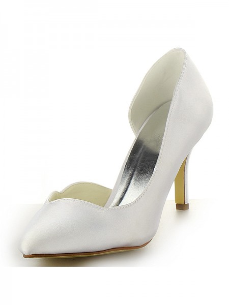Women's Sateng Closed Toe Stiletto Heel Hvit Brudesko