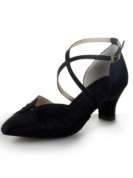 Women's Closed Toe Sateng Chunky Heel Buckle Dansesko