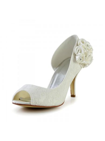 Women's Trendy Stiletto Heel Sateng Elfenben Brudesko With Blomst
