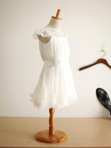 A-Linje/Prinsesse Scoop Ermeløs Håndlaget blomst Knelengde Chiffong Kjole